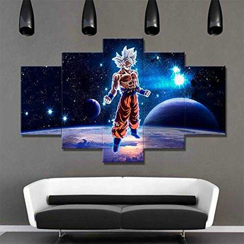 XLST 5 Pièces Dessin Animé Dragon Ball Z Goku Peintures HD Prints Super Saiyan Affiche Toile Mur Art Photos Salon Décor,B,30x50x2+30x70x2+30x80x1
