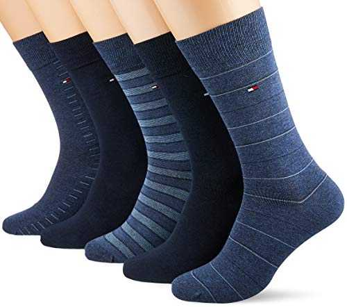 Tommy Hilfiger TH MEN SHARP STRIPES GIFTBOX 5P Chaussettes, Bleu (Dark Navy 322), 43/46 (Taille fabricant:043) (Lot de 5 Homme