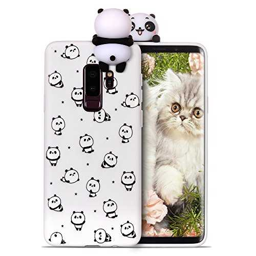 RosyHeart Coque pour Samsung S9 Plus Silicone Samsung Galaxy S9 + Souple Gel TPU Etui 3D Mignon Design Flexible Soft Backcover Anti Choc Housse de Protection,Petit Panda