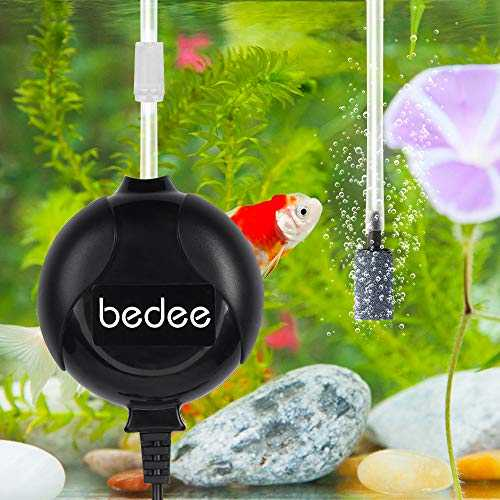 bedee Pompe a Air Aquarium, Pompe Air Aquarium Silencieuse <35db, Électromagnétique Oxygène Pompe à air Aquarium, Jusqu'à 50l Réservoir À Poissons, Économie d'énergie 1W