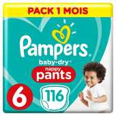 Couches Culottes Pampers Taille 6 ( 15 kg) - Baby Dry Nappy Pants, 116 culottes, Pack 1 Mois