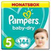 Pampers Baby-Dry Windeln, Gr. 5, 11kg-16kg, Monatsbox (1 x 144 Windeln)