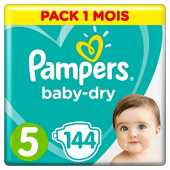 Couches Pampers Taille 5 (11-16 kg) - Baby Dry couches, 144 couches, Pack 1 Mois