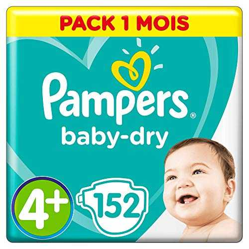Pampers - Baby Dry - Couches Taille 4  (10-15 kg) - Pack 1 mois (x152 couches)