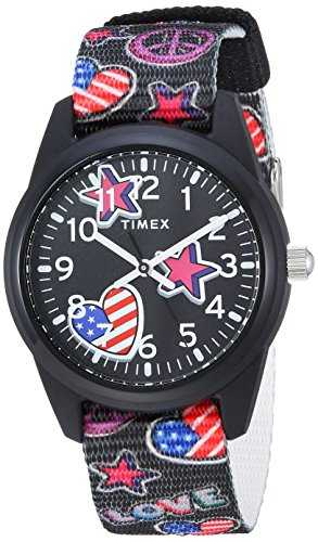 Timex Girls TW7C23700 Time Machines Black/Stars & Flags Nylon Strap Watch