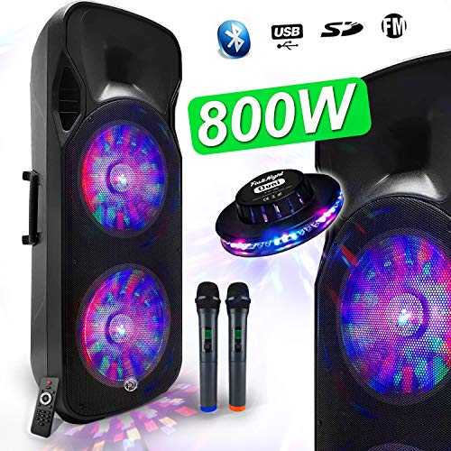 "Enceinte Sono DJ PA Mobile Party Batterie Karaoké 2x15"" 1000W USB/BT - FM RADIO + 2 Micros VHF MyDJ BOXER-215LED-MAGIC +OVNI"