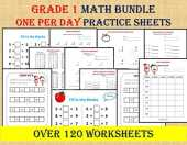GRADE 1 MATH Workbook, one per day (120 Math Worksheets), Basic Math, Fun worksheets, homeschool, Math Facts, Montessori, Kumon (Kids Math Zone - Grade 1) (English Edition)