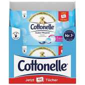 Cottonelle Lot de 12 packs de 44 lingettes de papier toilette humide, eau micellaire et parfum coton, biodégradable, refermable
