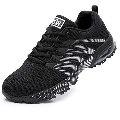 Axcone Homme Femme Air Running Baskets Chaussures Outdoor Running Gym Fitness Sport Sneakers Style Multicolore Respirante Marche Nordique - 8995 BK 43EU