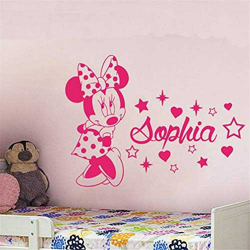 stickers muraux Mickey Mouse Sticker Mural Decal Sticker Mural Amour Mignon Minnie Mouse Nom Sticker Mural Enfants Gril Room Personnalisé Nom Star