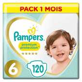 Pampers Couches Premium Protection, taille 6, 13  kg, boîte mensuelle, (1 x 120 pièces)