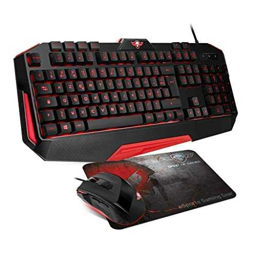SPIRIT OF GAMER – Pack gaming 3 en 1 PRO-MK3 – Clavier gamer rétro-éclairé 26 touches anti-ghosting 4 macros / souris gamer 7 boutons programmables 3200 DPI / tapis anti-dérapant 24 x 19 x 3 cm
