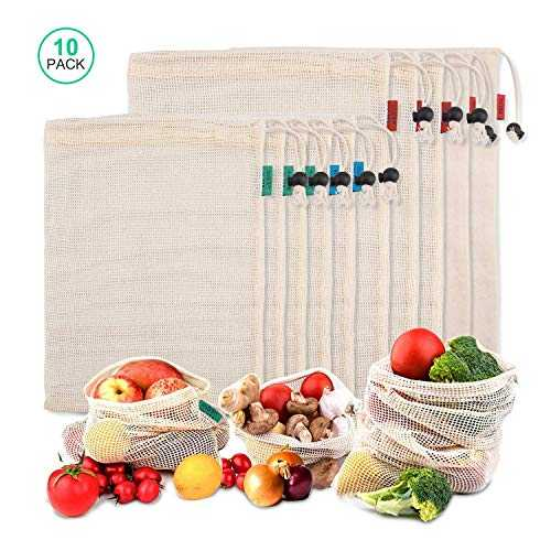 iTrunk Jisson Lot de 10 sacs réutilisables en maille en coton naturel robuste lavable pour le shopping sacs légers et durables pour le stockage des courses, des fruits et des légumes, des jouets