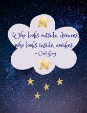 Who Looks Outside, Dreams; Who Looks Inside, Awakes Journal: A wide-ruled blank book for noting dreams. Quote by Carl Jung.