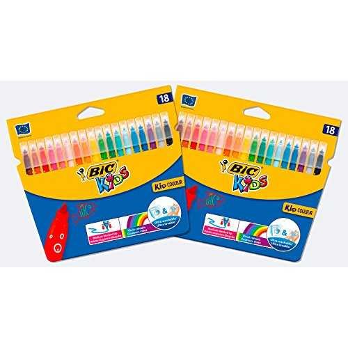 BIC 962702 Kids Kid Couleur Feutres de Coloriage à Pointe Moyenne - Lot de 2 Etuis Carton de 18, Couleurs Assorties