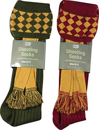 Hunting Shooting socks in Olive Green with Matching Garter Flash by Jack Pyke …