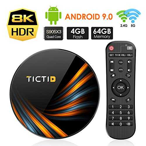 TICTID Android TV Box Android 9.0【4G 64G】 S905X3 Boitier Android TV Bluetooth 4.0, TX6 Plus Amlogic S905X3 Quad-Core 64bit Cortex-A55, Box Android TV LAN1000M Wi-FI 2.4G/5G TV Box 8K
