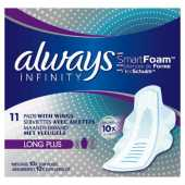 Always Infinity Long Plus Sanitary Towels with Wings 11 per pack Case of 5 by Always