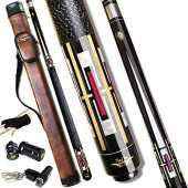 Tai ba cues Billardqueue mit Tasche, Leinen-Wickel-Queue, 13 mm mehrschichtige Lederspitze, 147,3 cm, Hartholz, kanadischer Ahorn, Profi-Billard, 19, 20, 595 g (wählbar) 2-teiliger Billardqueue Stick