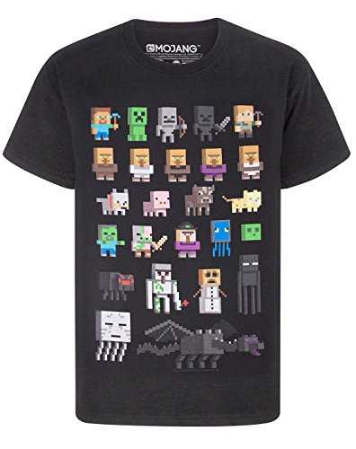 Minecraft Sprites Ragazzi T-Shirt (Nero, 9-10 Years)