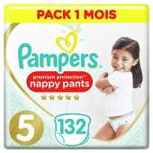 Couches Culottes Pampers Taille 5 (12-17 kg) - Premium Protection Nappy Pants, 132 culottes, Pack 1 Mois