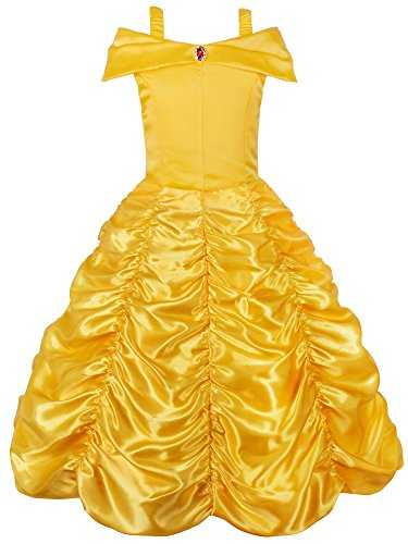 JerrisApparel Princesse Belle Hors épaule Couché Costume Robe inur Little Girl-Jaune-5 ans