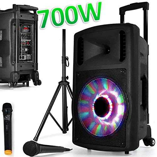 Enceinte SONO Mobile DJ PA 700W FUZZY12BT LED PIED Batterie Party Karaoké 2 MICROS 12 USB SD Bluetooth FAMILLE ENFANT SOIREE