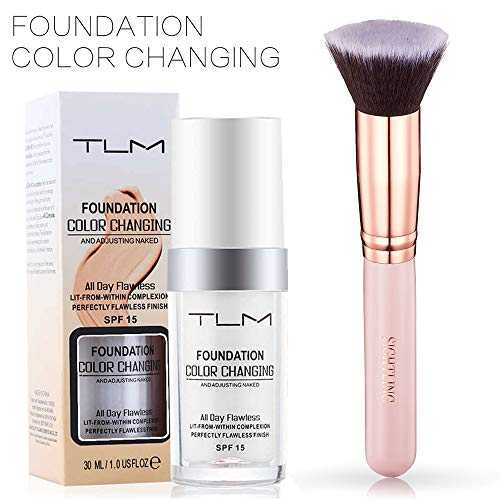 TLM 30ml Fondation Fond de teint changeant de couleur Liquid Foundation avec Pinceau Fond de Teint Kabuki pour Maquillage du Visage By SIGHTLING