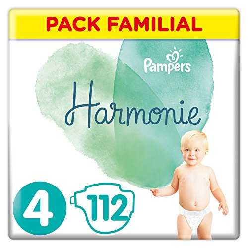 Pampers - Harmonie - Couches Taille 4 (9-14 kg) Hypoallergénique - Pack Familial (112 couches)