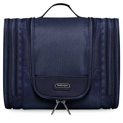Heavy Duty Waterproof Hanging Toiletry Bag - Travel Cosmetic Makeup Bag for Women & Shaving Kit Organizer Bag for Men - X Large Size: 30*11*24cm (Dark Blue)