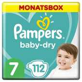 Pampers Baby-Dry Windeln, Gr. 7, 15kg , Monatsbox (1 x 112 Windeln)