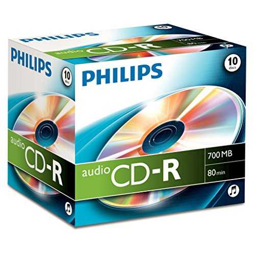 CD-R audio Philips, 700 Mo, 80 mn, 10 pièces en jewelcase