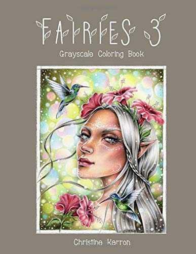 Fairies 3 Grayscale Coloring Book