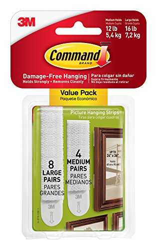 Command Pack de 12 Languettes Repositionnables : 8 larges, 4 moyennes