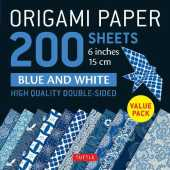 Origami Paper 200 Sheets Blue and White: 6 inches 15 Cm: High-Quality Double Sided