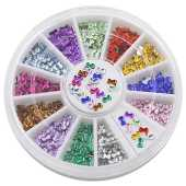 Bluelans® 12 Farben 3mm 3D Glitters Bowknot Nagelsticker Schleife Strass Nagel Art Sticker Dekoration