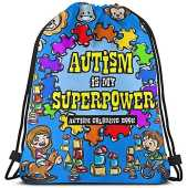 Sensibilisation à l'Autisme My Superpower Cartoon Animals Drawing Durable Big Capacity Gym Bag Minimalist Cinch Bags